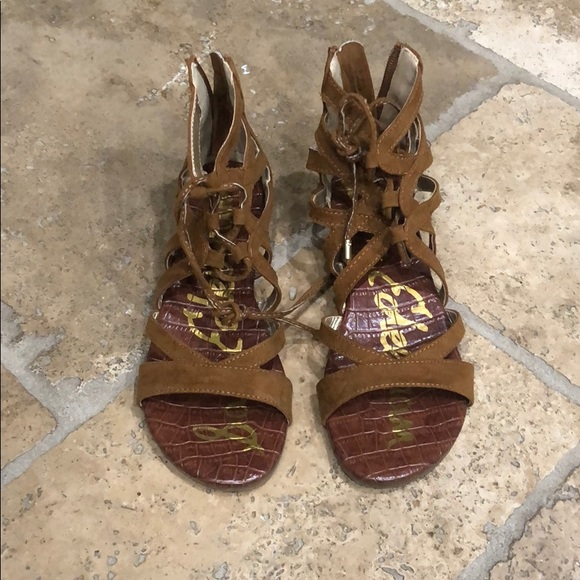Sam Edelman Other - Tan gladiator strapped leather wedge sandals